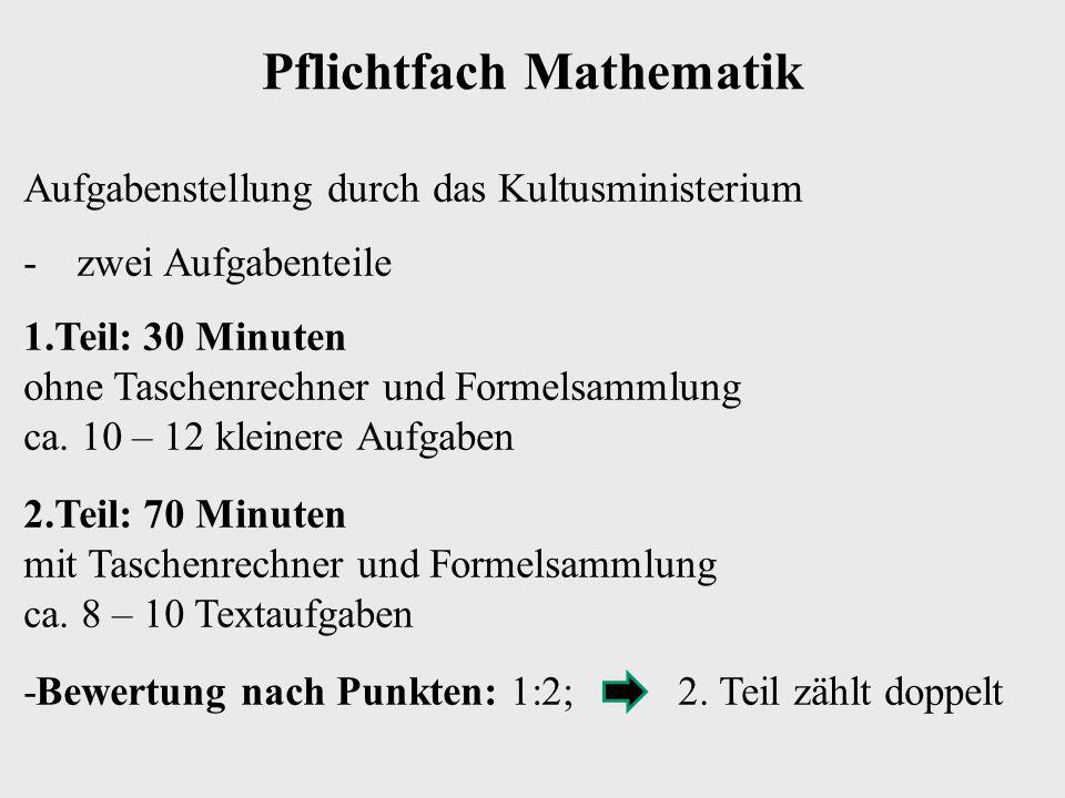 Pflichtfach Mathematik Aufgabenstellung durch das Kultusministerium -zwei Aufgabenteile 1.Teil: 30 Minuten ohne Taschenrechner und Formelsammlung ca.