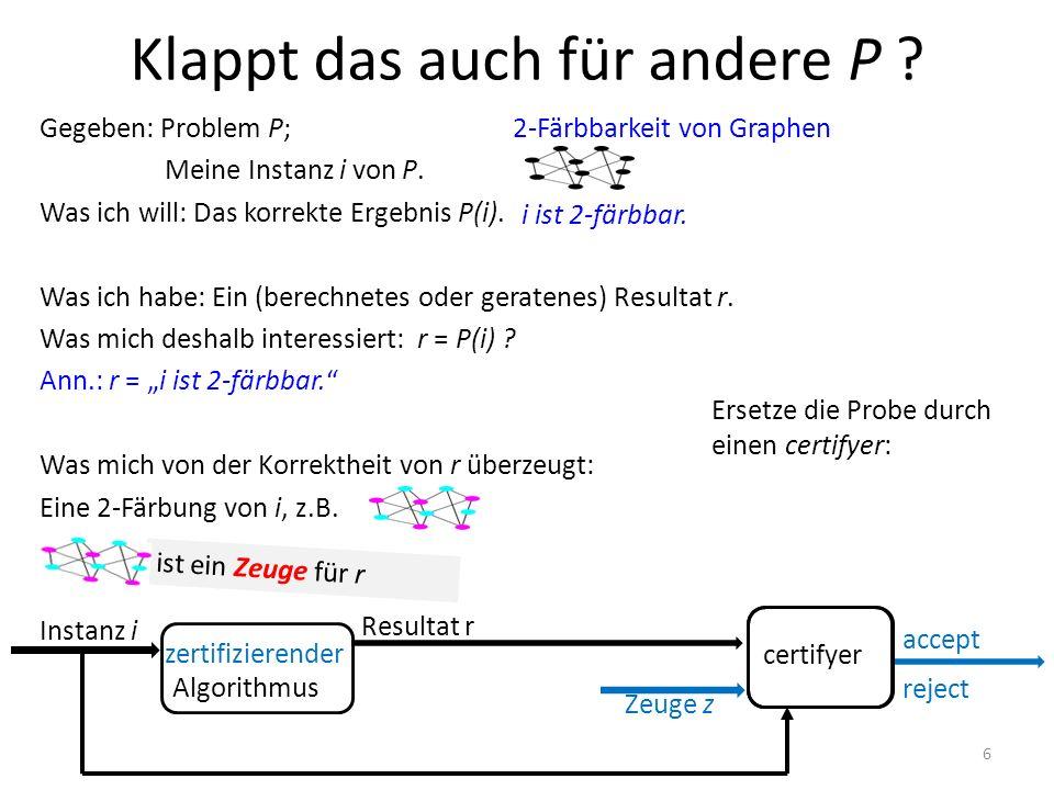 """""""Probe"""" certifyer Klappt das auch für andere P ? Gegeben: Problem P; Meine Instanz i von P. Was ich will: Das korrekte Ergebnis P(i). Was ich habe: Ei"""