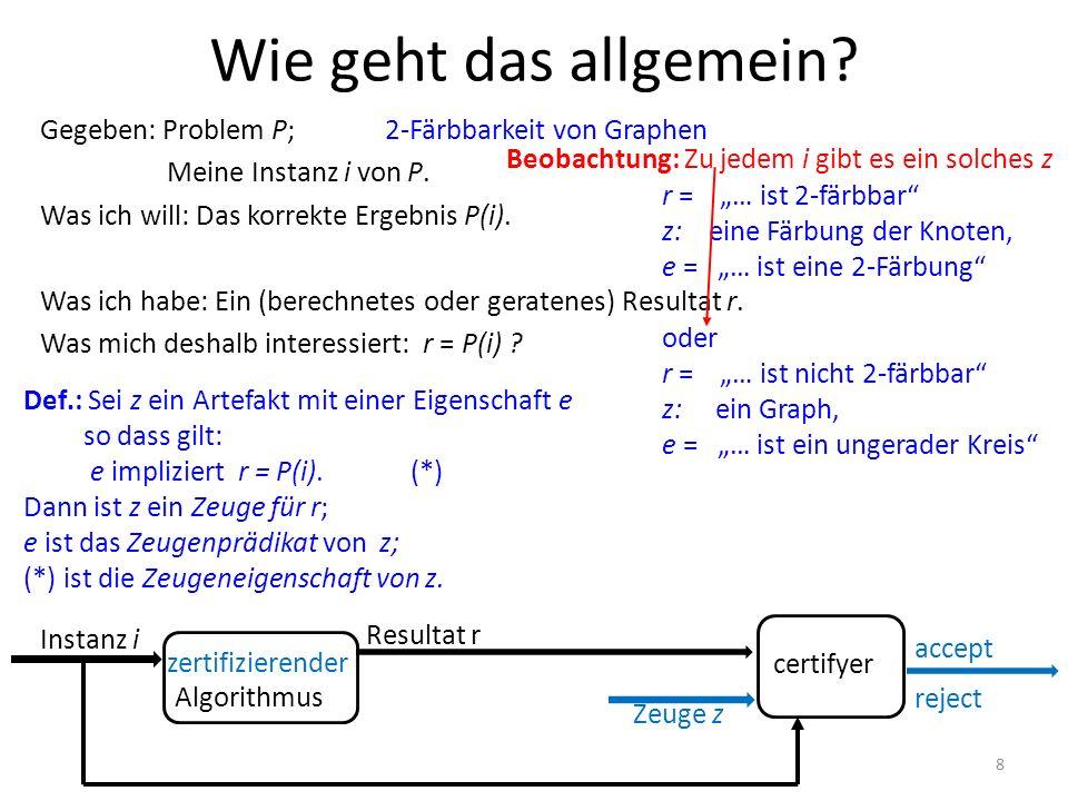 Gegeben: Problem P; Meine Instanz i von P. Was ich will: Das korrekte Ergebnis P(i). Was ich habe: Ein (berechnetes oder geratenes) Resultat r. Was mi