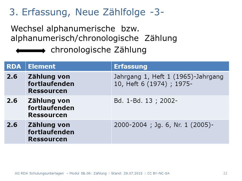 3. Erfassung, Neue Zählfolge -3- Wechsel alphanumerische bzw. alphanumerisch/chronologische Zählung chronologische Zählung AG RDA Schulungsunterlagen