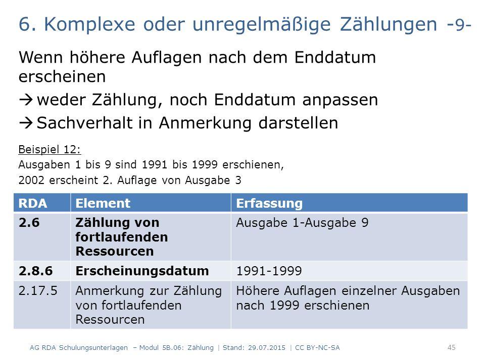 6. Komplexe oder unregelmäßige Zählungen - 9- Wenn höhere Auflagen nach dem Enddatum erscheinen  weder Zählung, noch Enddatum anpassen  Sachverhalt