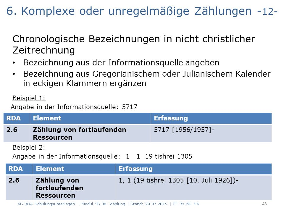 6. Komplexe oder unregelmäßige Zählungen - 12- Chronologische Bezeichnungen in nicht christlicher Zeitrechnung Bezeichnung aus der Informationsquelle