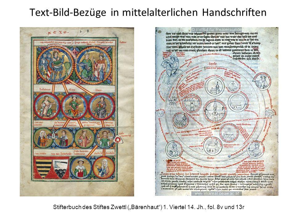 """Text-Bild-Bezüge in mittelalterlichen Handschriften Stifterbuch des Stiftes Zwettl (""""Bärenhaut"""") 1. Viertel 14. Jh., fol. 8v und 13r"""