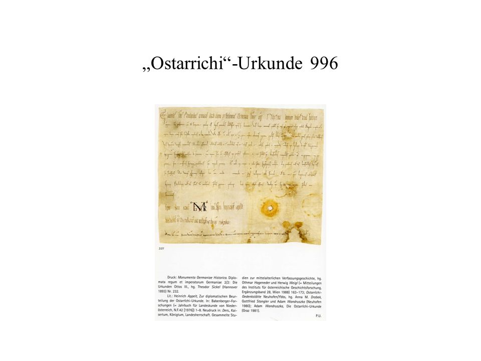 """Ostarrichi""-Urkunde 996"