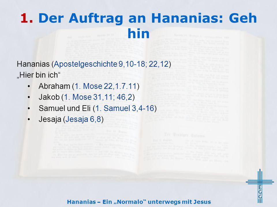 """1. Der Auftrag an Hananias: Geh hin Hananias (Apostelgeschichte 9,10-18; 22,12) """"Hier bin ich"""" Abraham (1. Mose 22,1.7.11) Jakob (1. Mose 31,11; 46,2)"""