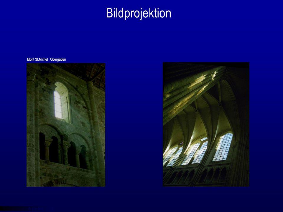 © qba fecit Bildprojektion Laon, Säulenkapitel Mont St.Michel, Obergaden