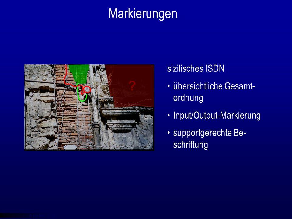 © qba fecit Markierungen sizilisches ISDN übersichtliche Gesamt- ordnung Input/Output-Markierung supportgerechte Be- schriftung