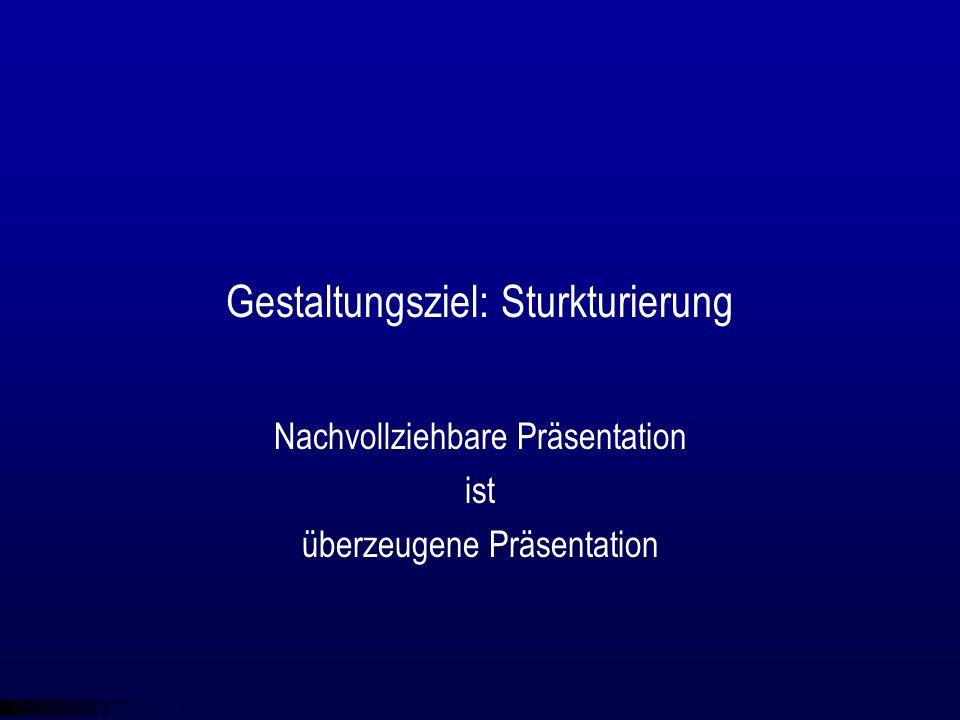 © qba fecit Gestaltungsziel: Sturkturierung Nachvollziehbare Präsentation ist überzeugene Präsentation