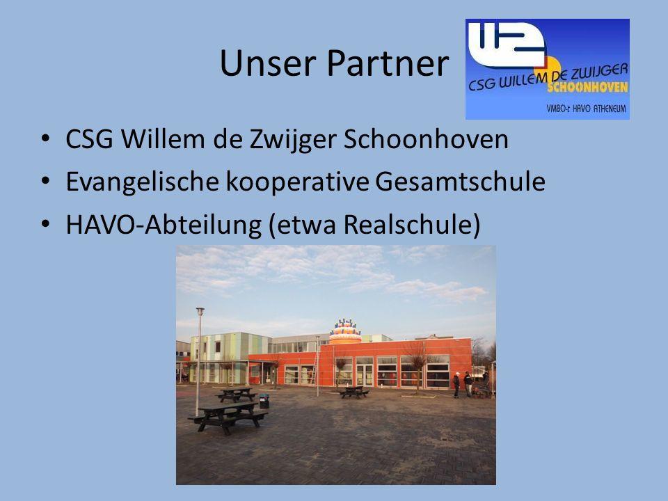 Unser Partner CSG Willem de Zwijger Schoonhoven Evangelische kooperative Gesamtschule HAVO-Abteilung (etwa Realschule)