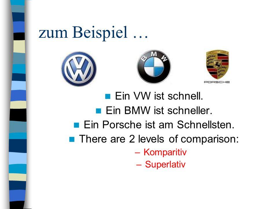 zum Beispiel … Ein VW ist schnell. Ein BMW ist schneller. Ein Porsche ist am Schnellsten. There are 2 levels of comparison: –Komparitiv –Superlativ