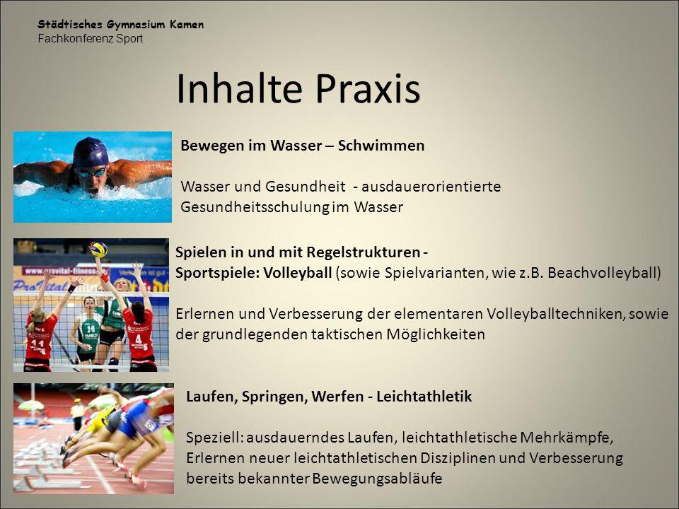 Städtisches Gymnasium Kamen Fachkonferenz Sport Inhalte Praxis Bewegen im Wasser – Schwimmen Wasser und Gesundheit - ausdauerorientierte Gesundheitssc