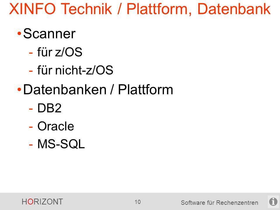 """HORIZONT 9 Software für Rechenzentren XINFO Scanner XINFO ist modular -wählen Sie Ihre Scanner aus XINFO-Scanner … -sind intelligent """"Includes"""" werden"""