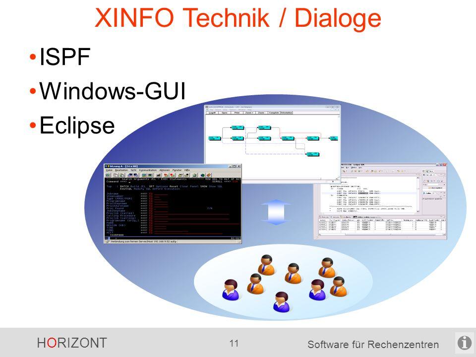 HORIZONT 10 Software für Rechenzentren XINFO Technik / Plattform, Datenbank Scanner -für z/OS -für nicht-z/OS Datenbanken / Plattform -DB2 -Oracle -MS-SQL