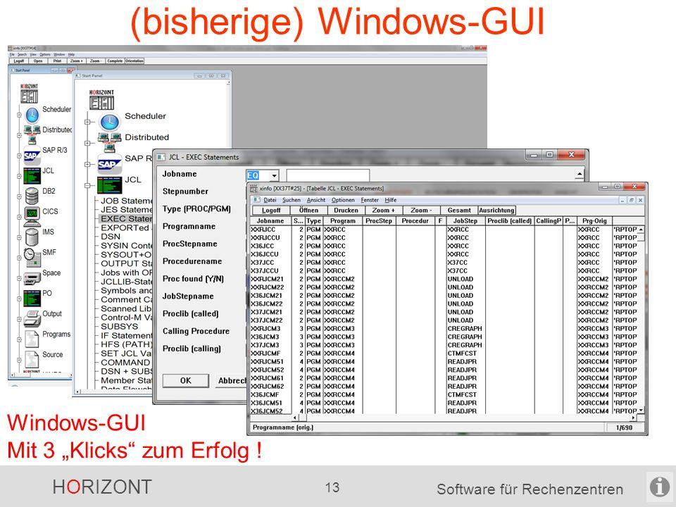 """HORIZONT 12 Software für Rechenzentren Welchen Nutzen bringt XINFO? ISPF-Dialog Mit 3 """"Klicks"""" zum Erfolg !"""