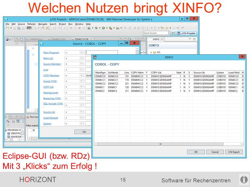 """HORIZONT 14 Software für Rechenzentren Welchen Nutzen bringt XINFO? Windows-GUI Mit 3 """"Klicks"""" zum Erfolg !"""