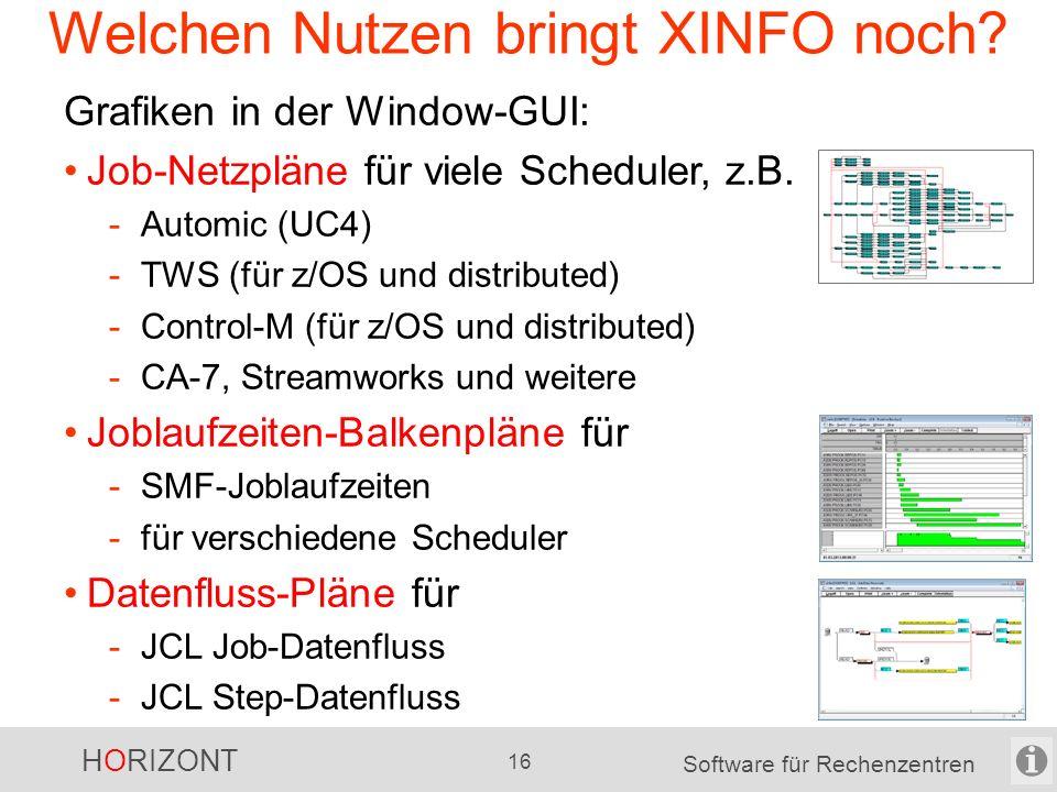 """HORIZONT 15 Software für Rechenzentren Welchen Nutzen bringt XINFO? Eclipse-GUI (bzw. RDz) Mit 3 """"Klicks"""" zum Erfolg !"""