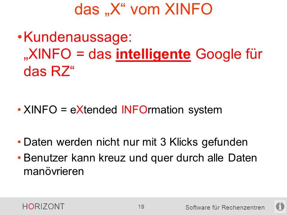 HORIZONT 18 Software für Rechenzentren XINFO-Grafiken Beispiele SMF Joblaufzeiten UC4 Joblaufzeiten PL1 Programm Aufrufbaum JCL Datenflußplan das Ergebnis