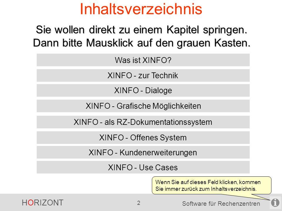 HORIZONT 32 Software für Rechenzentren XINFO in Projekten Umstellung und Optimierungen von Scheduling- Umgebungen -Scanner: JCL, Scheduling-Systeme, SMF Upgrade von z.B.