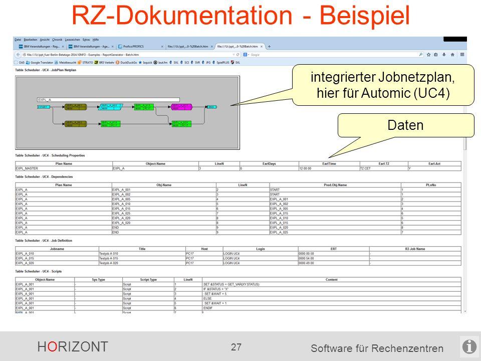 HORIZONT 26 Software für Rechenzentren XINFO sonstige Möglichkeiten sehr viele Export-Möglichkeiten -für die Text-Daten -für die Grafiken automatisch