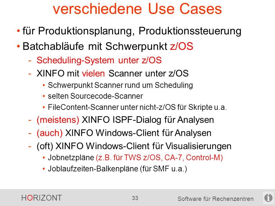 HORIZONT 32 Software für Rechenzentren XINFO in Projekten Umstellung und Optimierungen von Scheduling- Umgebungen -Scanner: JCL, Scheduling-Systeme, S