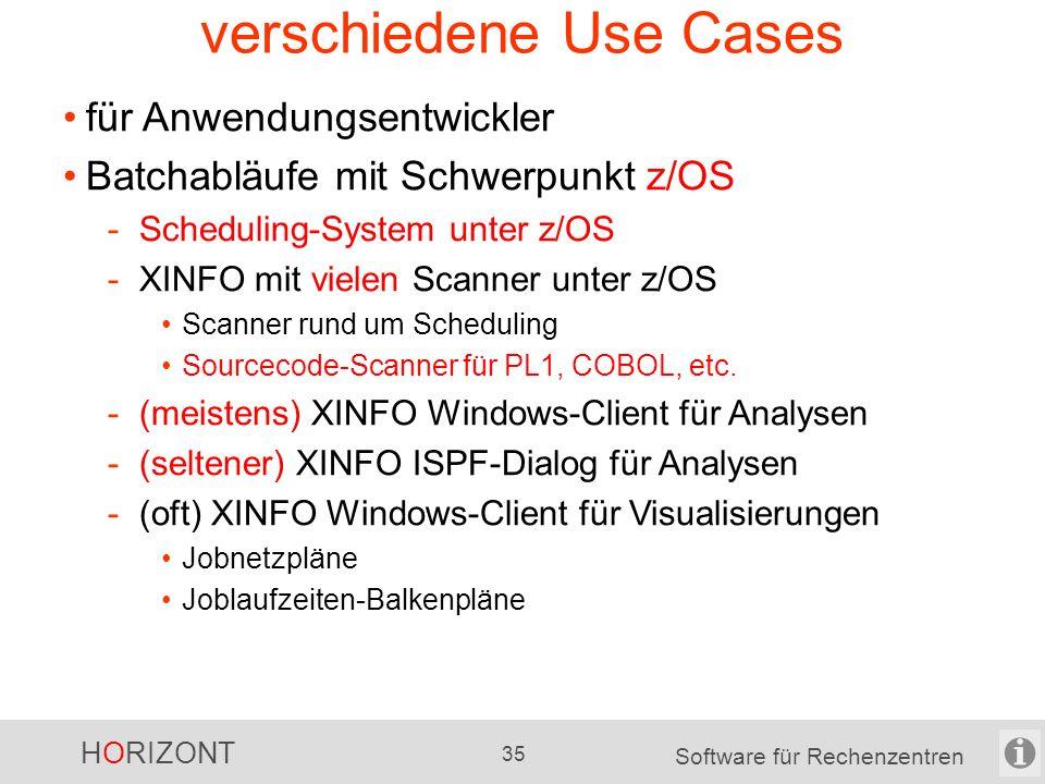 HORIZONT 34 Software für Rechenzentren verschiedene Use Cases für Produktionsplanung, Produktionssteuerung Batchabläufe mit Schwerpunkt z/OS -Scheduling-System unter nicht-z/OS -XINFO mit vielen Scanner unter z/OS Schwerpunkt Scanner rund um Scheduling selten Sourcecode-Scanner FileContent-Scanner unter nicht-z/OS für Skripte u.a.
