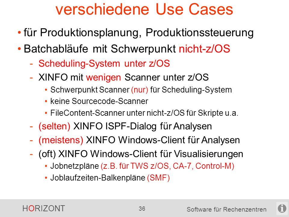 HORIZONT 35 Software für Rechenzentren verschiedene Use Cases für Anwendungsentwickler Batchabläufe mit Schwerpunkt z/OS -Scheduling-System unter z/OS -XINFO mit vielen Scanner unter z/OS Scanner rund um Scheduling Sourcecode-Scanner für PL1, COBOL, etc.