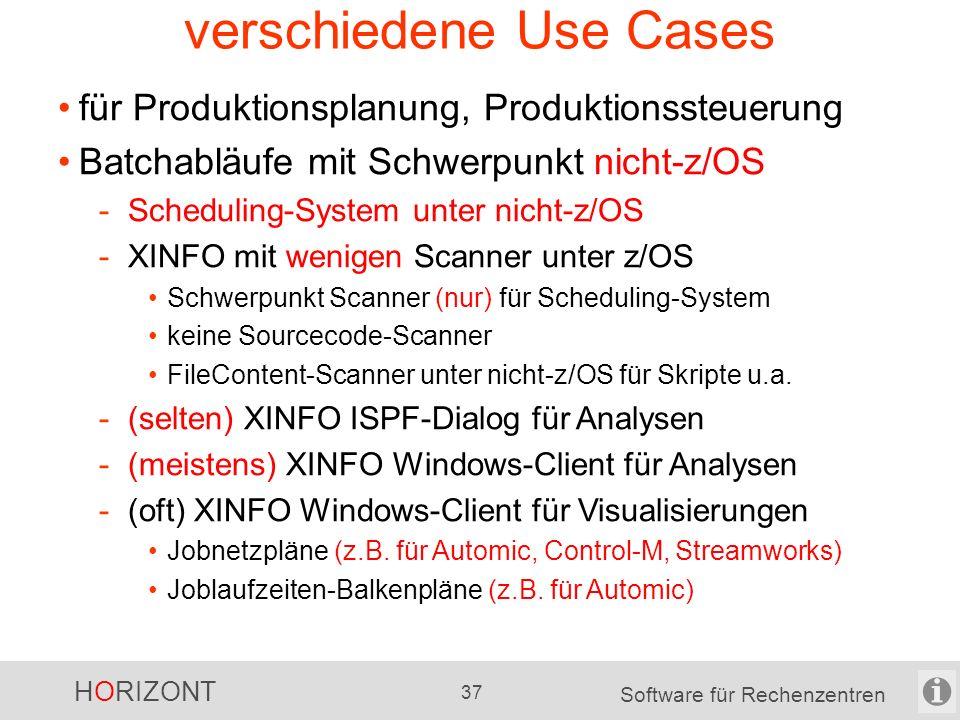 HORIZONT 36 Software für Rechenzentren verschiedene Use Cases für Produktionsplanung, Produktionssteuerung Batchabläufe mit Schwerpunkt nicht-z/OS -Sc