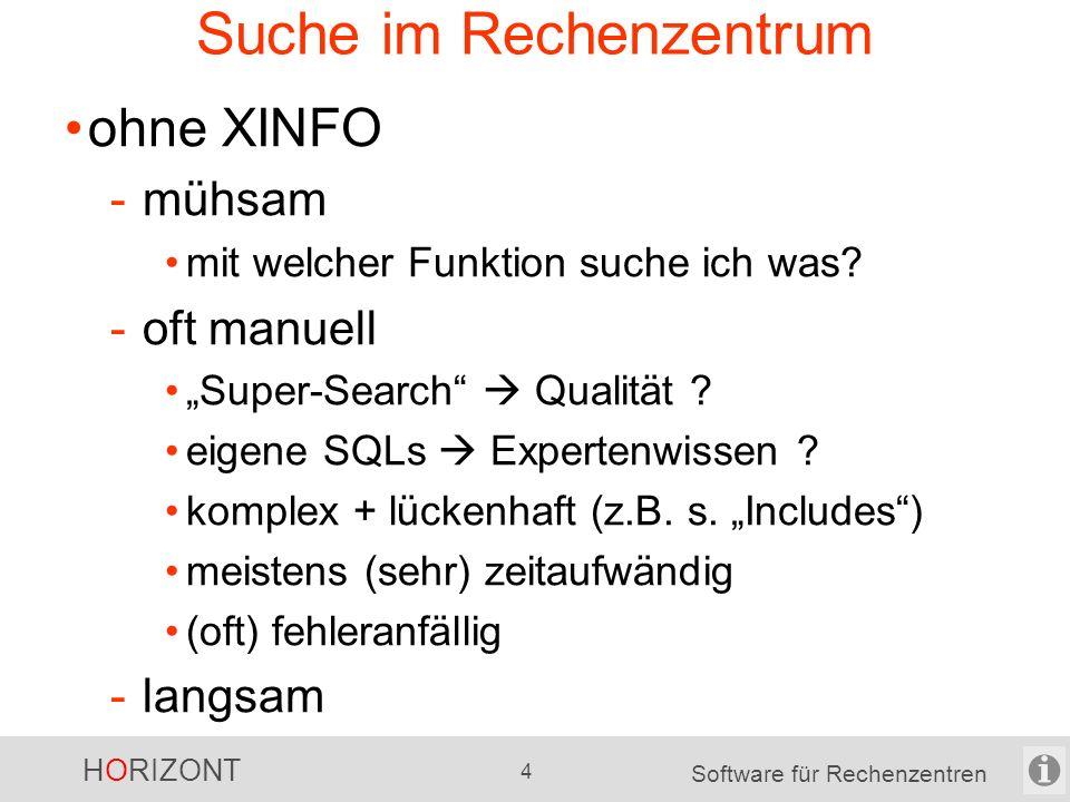 HORIZONT 3 Software für Rechenzentren Suche …. Suche kostet ….