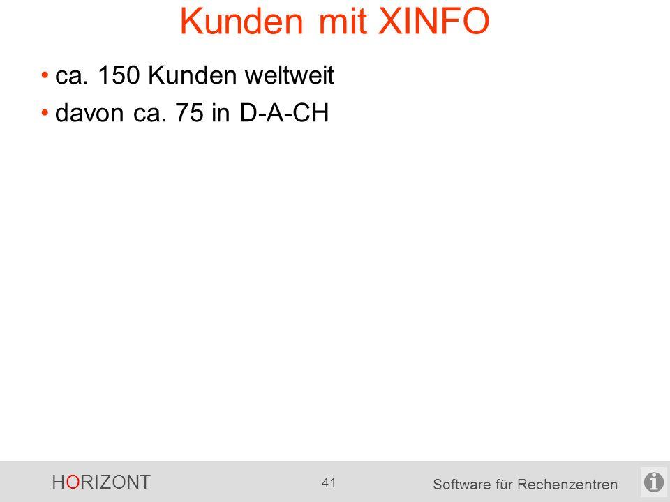 """HORIZONT 40 Software für Rechenzentren XINFO auf 1 Blick XINFO ist das """"intelligente Google für das RZ für verschiedene Plattformen für unterschiedliche Benutzergruppen für sehr viele Daten (auch die eigenen) für Analysen für Visualisierungen für RZ-Dokumentationen usw."""