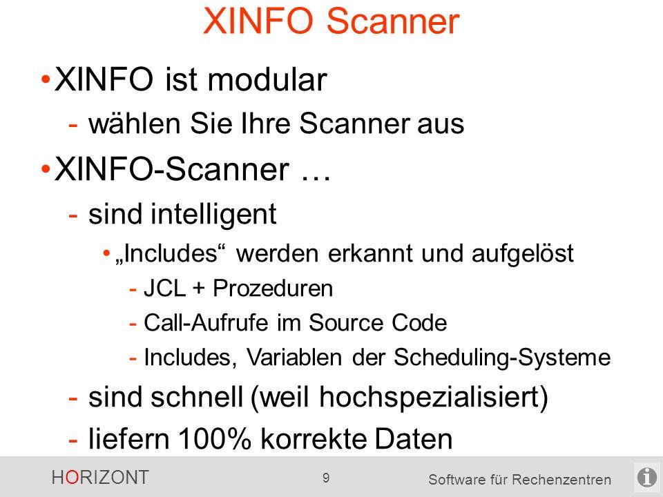 """HORIZONT 9 Software für Rechenzentren XINFO Scanner XINFO ist modular -wählen Sie Ihre Scanner aus XINFO-Scanner … -sind intelligent """"Includes werden erkannt und aufgelöst -JCL + Prozeduren -Call-Aufrufe im Source Code -Includes, Variablen der Scheduling-Systeme -sind schnell (weil hochspezialisiert) -liefern 100% korrekte Daten"""