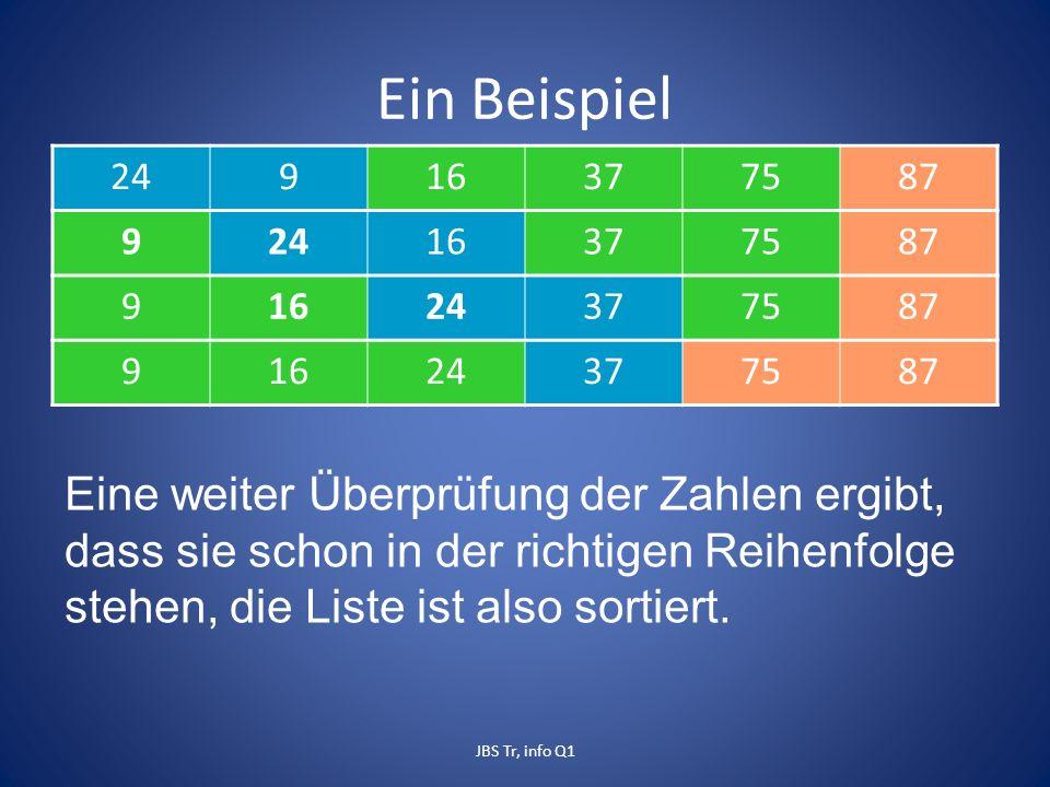 Ein Beispiel 24916377587 92416377587 91624377587 91624377587 Eine weiter Überprüfung der Zahlen ergibt, dass sie schon in der richtigen Reihenfolge stehen, die Liste ist also sortiert.