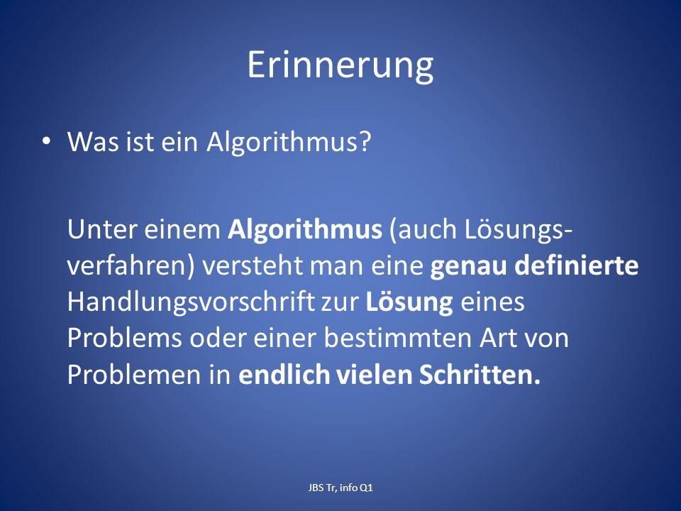 Erinnerung Was ist ein Algorithmus.
