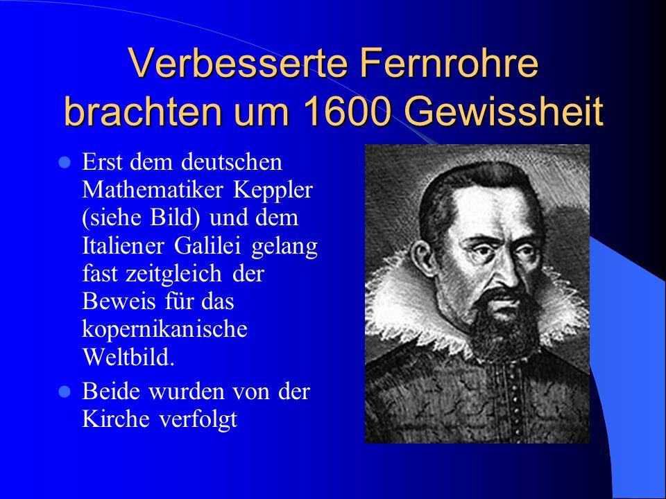 In der Astronomie entdeckte zunächst Kopernikus das heliozentrische Weltbild Der Konflikt mit der Kirche, die dogmatisch am geozentrischen Weltbild festhielt, war vorprogrammiert.