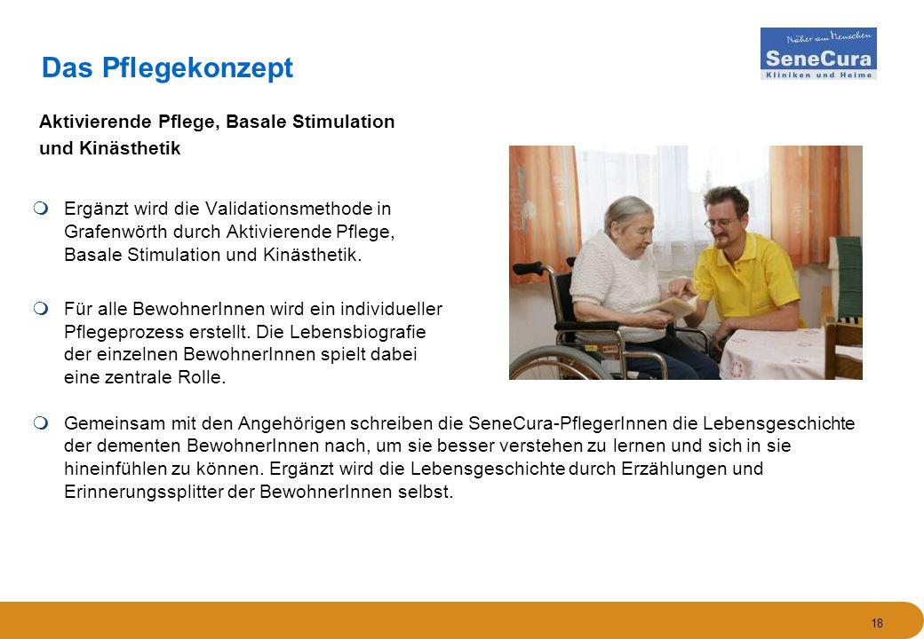 18 Das Pflegekonzept  Ergänzt wird die Validationsmethode in Grafenwörth durch Aktivierende Pflege, Basale Stimulation und Kinästhetik.  Für alle Be