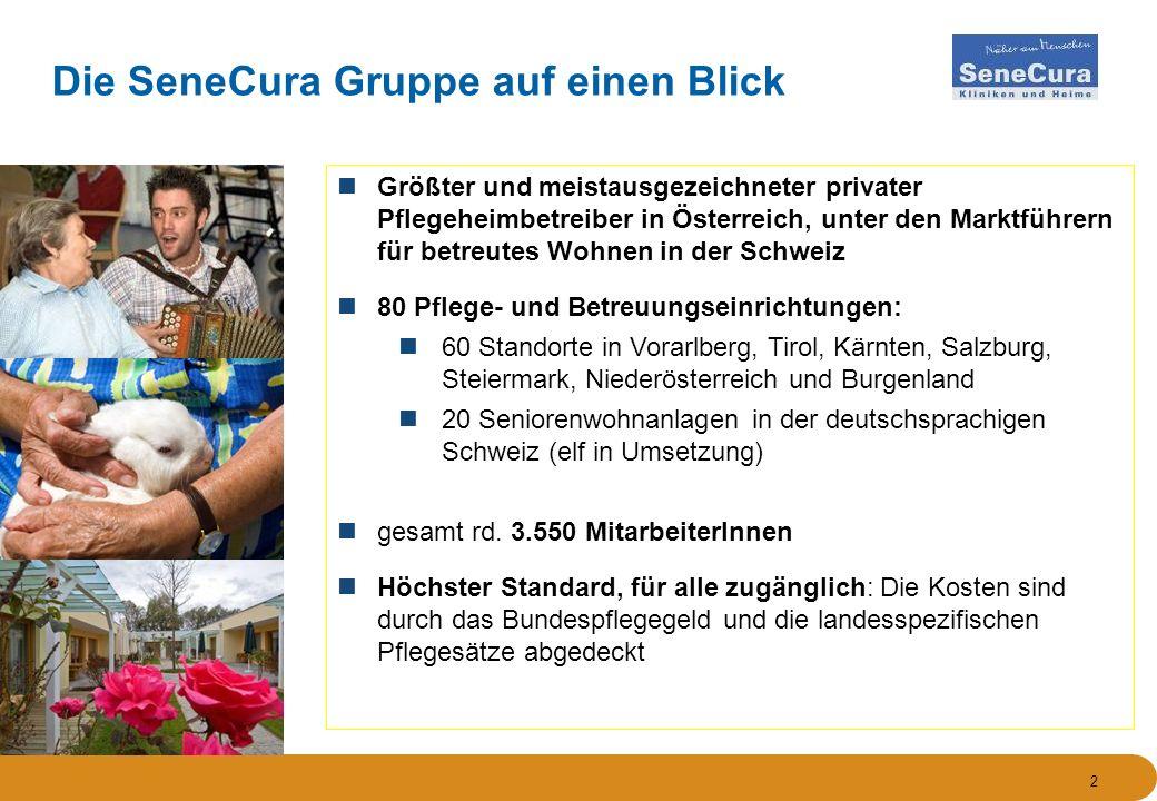2 Die SeneCura Gruppe auf einen Blick Größter und meistausgezeichneter privater Pflegeheimbetreiber in Österreich, unter den Marktführern für betreute