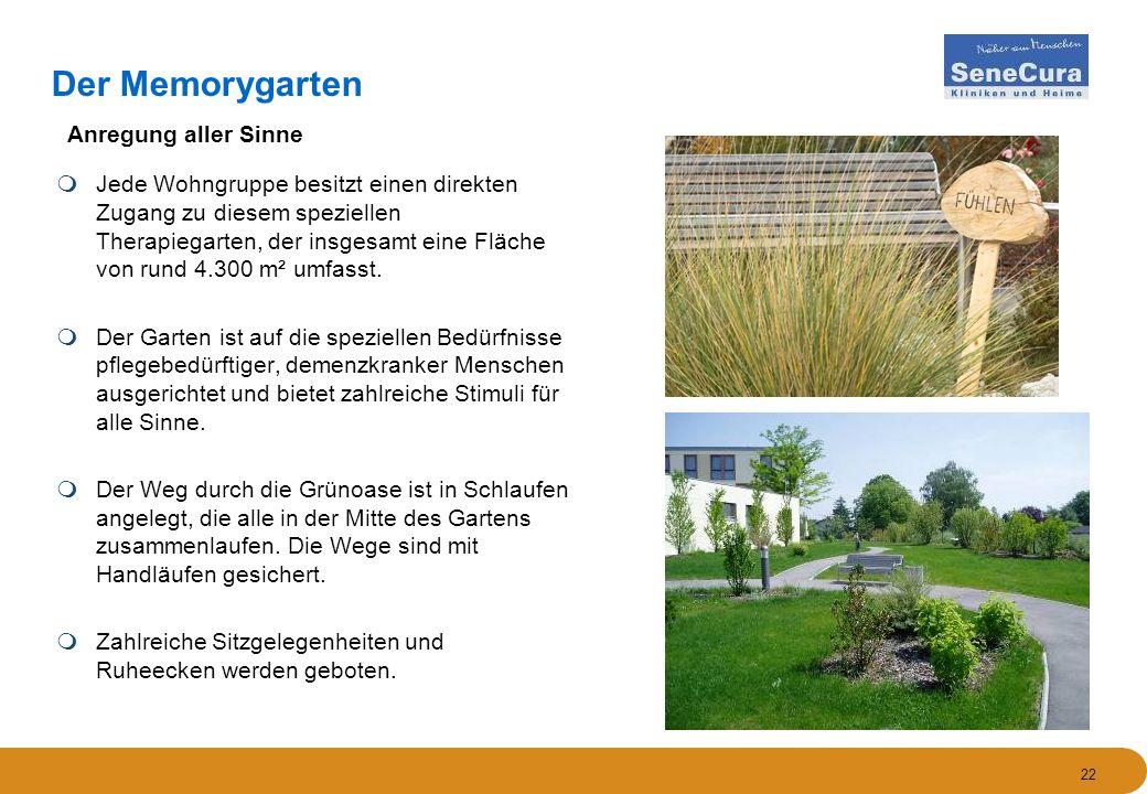 22 Der Memorygarten  Jede Wohngruppe besitzt einen direkten Zugang zu diesem speziellen Therapiegarten, der insgesamt eine Fläche von rund 4.300 m² umfasst.