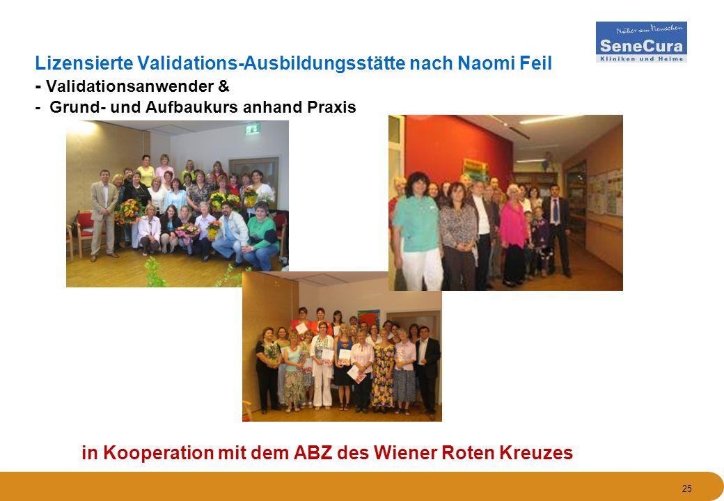 25 Lizensierte Validations-Ausbildungsstätte nach Naomi Feil - Validationsanwender & - Grund- und Aufbaukurs anhand Praxis in Kooperation mit dem ABZ des Wiener Roten Kreuzes