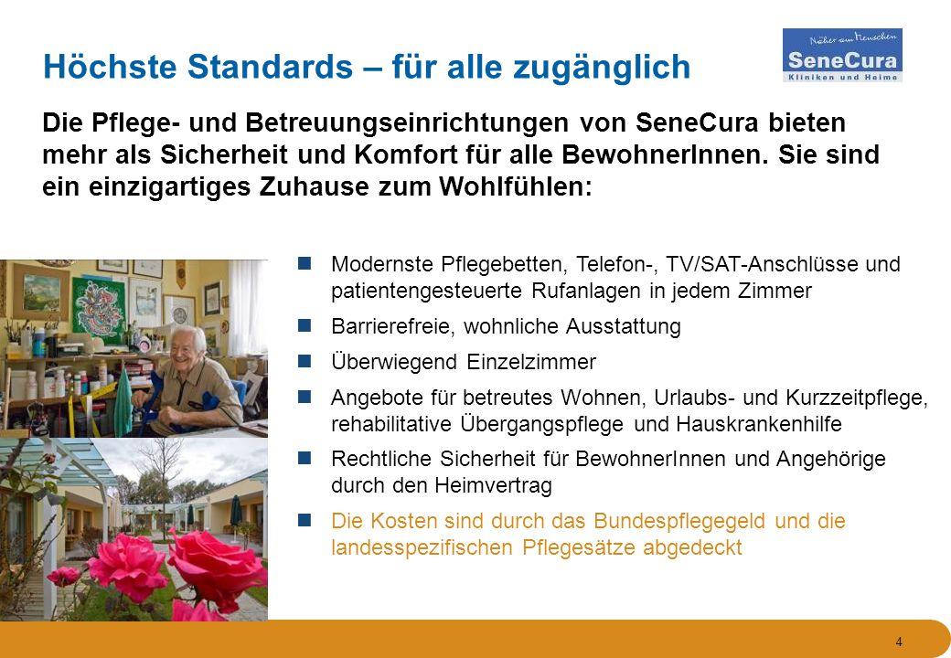 4 Höchste Standards – für alle zugänglich Die Pflege- und Betreuungseinrichtungen von SeneCura bieten mehr als Sicherheit und Komfort für alle BewohnerInnen.