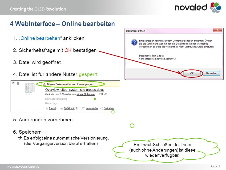 "NOVALED CONFIDENTIAL Page 18 1. ""Online bearbeiten anklicken 2."