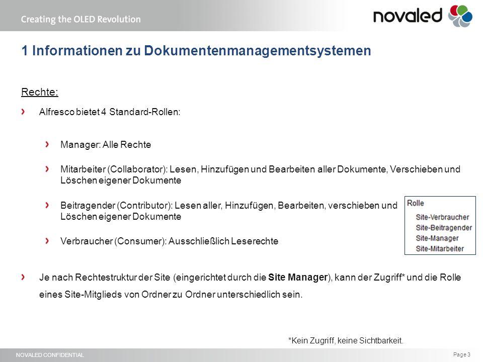 """NOVALED CONFIDENTIAL Page 14 4 WebInterface - """"Ausgewählte Einträge... Damit """"Ausgewählte Elemente anwählbar ist, muss ein Ordner/ eine Datei per Häkchen markiert sein."""