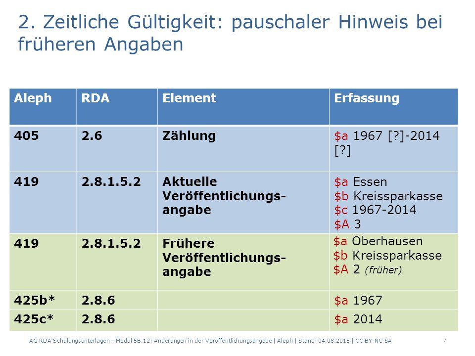 2. Zeitliche Gültigkeit: pauschaler Hinweis bei früheren Angaben AG RDA Schulungsunterlagen – Modul 5B.12: Änderungen in der Veröffentlichungsangabe  