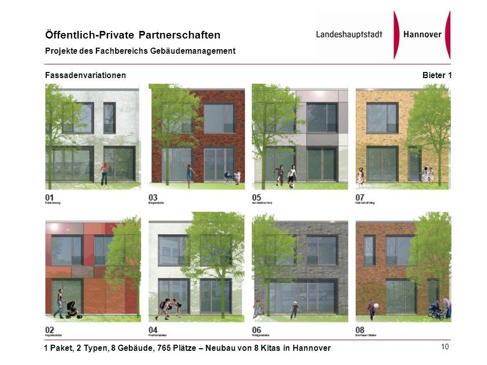 1 Paket, 2 Typen, 8 Gebäude, 765 Plätze – Neubau von 8 Kitas in Hannover Öffentlich-Private Partnerschaften Projekte des Fachbereichs Gebäudemanagement 10 Fassadenvariationen Bieter 1
