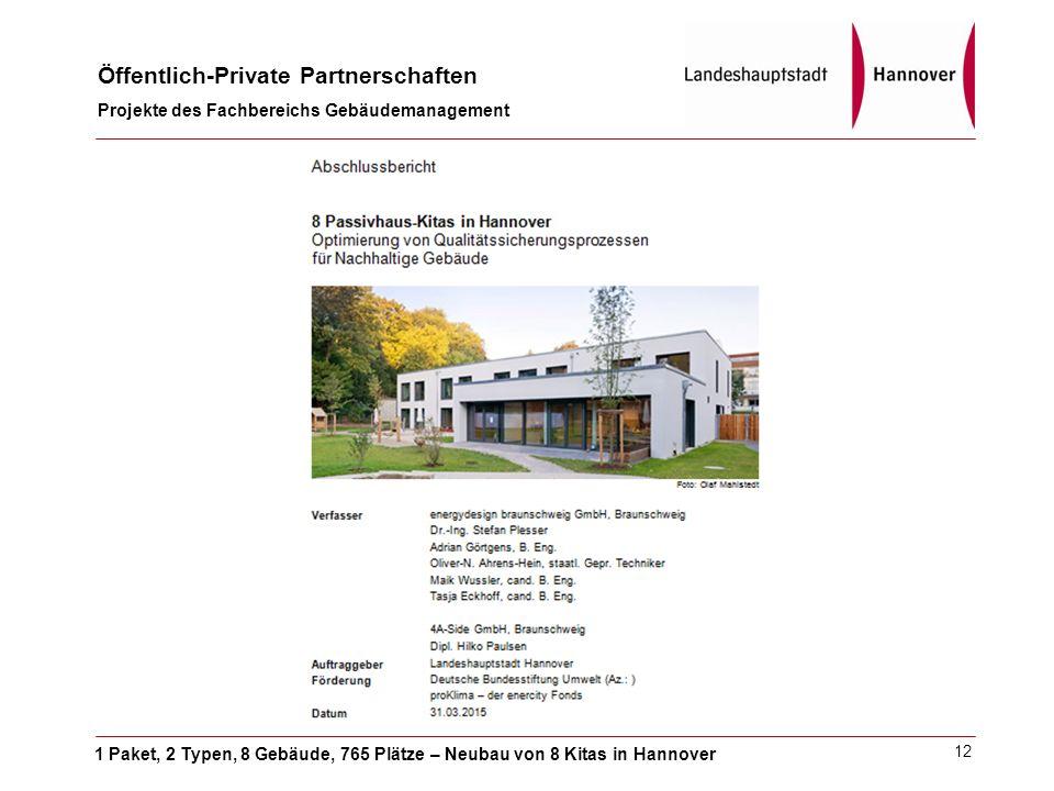 1 Paket, 2 Typen, 8 Gebäude, 765 Plätze – Neubau von 8 Kitas in Hannover Öffentlich-Private Partnerschaften Projekte des Fachbereichs Gebäudemanagement 12