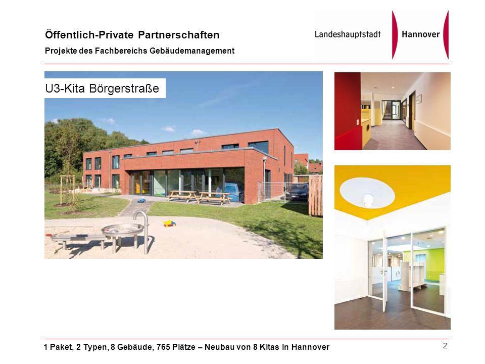 1 Paket, 2 Typen, 8 Gebäude, 765 Plätze – Neubau von 8 Kitas in Hannover Öffentlich-Private Partnerschaften Projekte des Fachbereichs Gebäudemanagement 2 U3-Kita Börgerstraße
