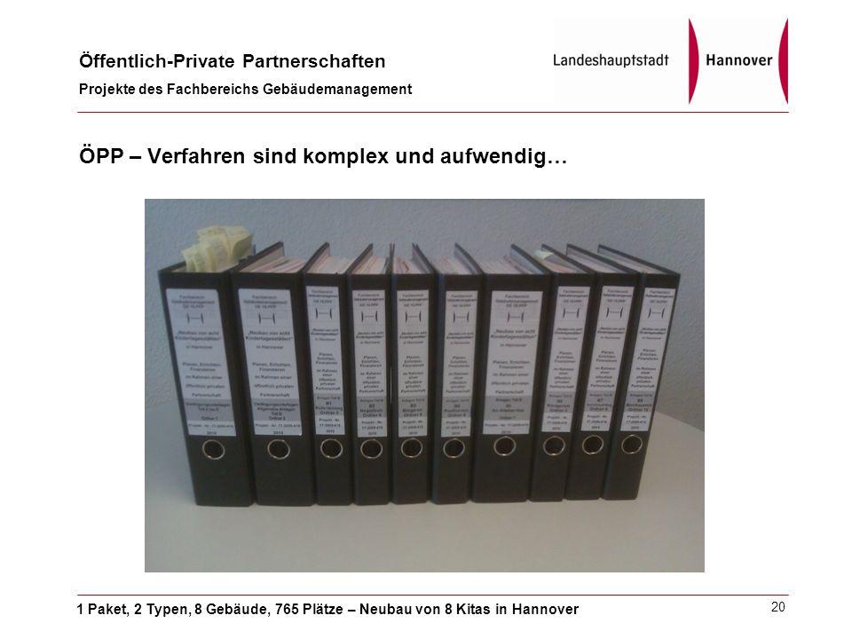 1 Paket, 2 Typen, 8 Gebäude, 765 Plätze – Neubau von 8 Kitas in Hannover Öffentlich-Private Partnerschaften Projekte des Fachbereichs Gebäudemanagement 20 ÖPP – Verfahren sind komplex und aufwendig…