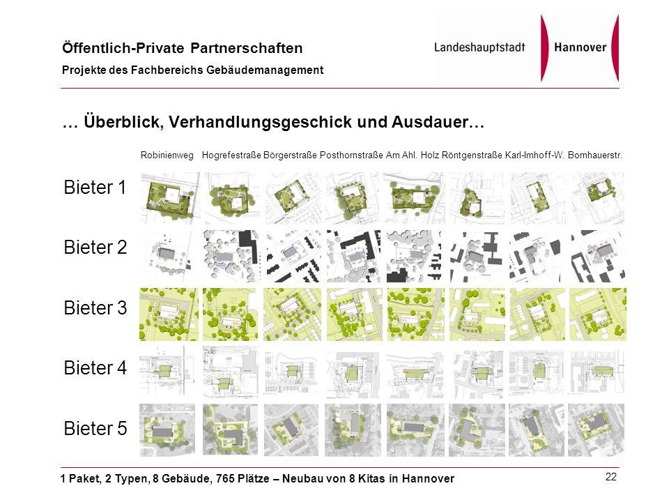 1 Paket, 2 Typen, 8 Gebäude, 765 Plätze – Neubau von 8 Kitas in Hannover Öffentlich-Private Partnerschaften Projekte des Fachbereichs Gebäudemanagement 22 Robinienweg Hogrefestraße Börgerstraße Posthornstraße Am Ahl.
