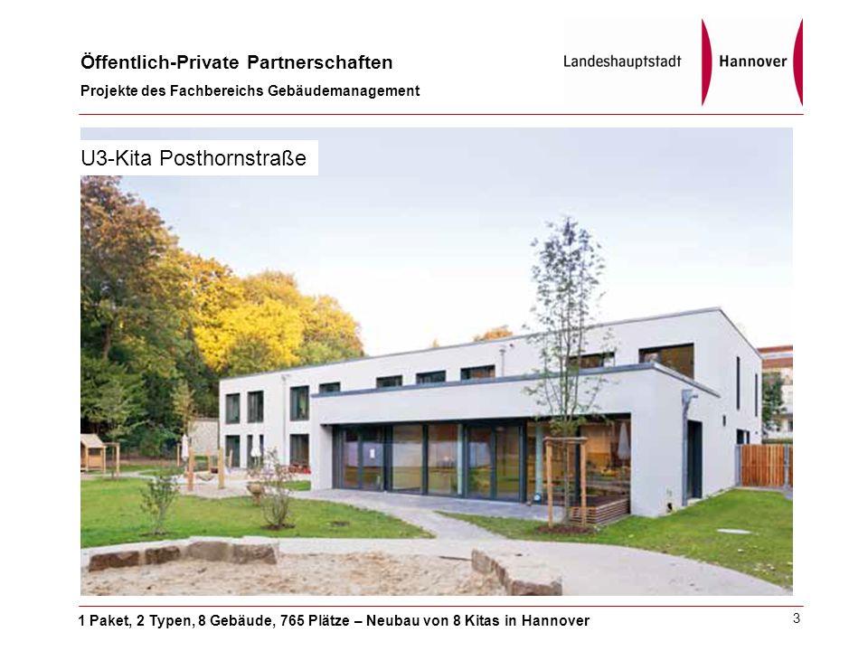 1 Paket, 2 Typen, 8 Gebäude, 765 Plätze – Neubau von 8 Kitas in Hannover Öffentlich-Private Partnerschaften Projekte des Fachbereichs Gebäudemanagement 3 U3-Kita Posthornstraße