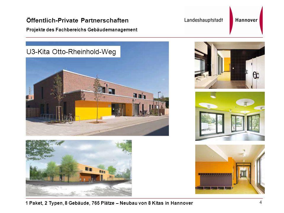 1 Paket, 2 Typen, 8 Gebäude, 765 Plätze – Neubau von 8 Kitas in Hannover Öffentlich-Private Partnerschaften Projekte des Fachbereichs Gebäudemanagement 4 U3-Kita Otto-Rheinhold-Weg