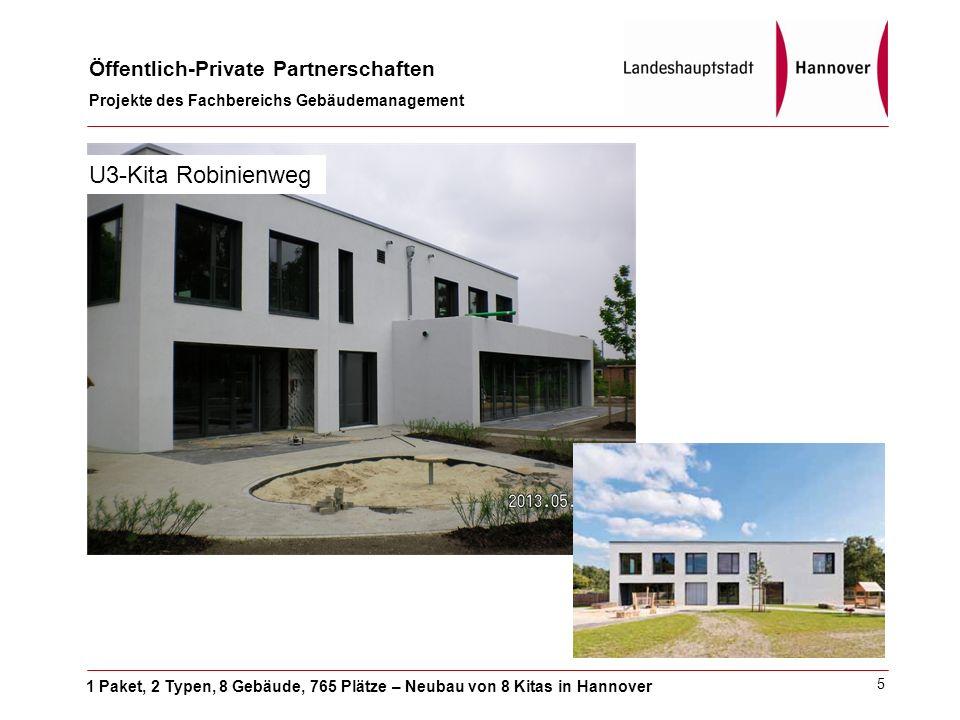 1 Paket, 2 Typen, 8 Gebäude, 765 Plätze – Neubau von 8 Kitas in Hannover Öffentlich-Private Partnerschaften Projekte des Fachbereichs Gebäudemanagement 5 U3-Kita Robinienweg