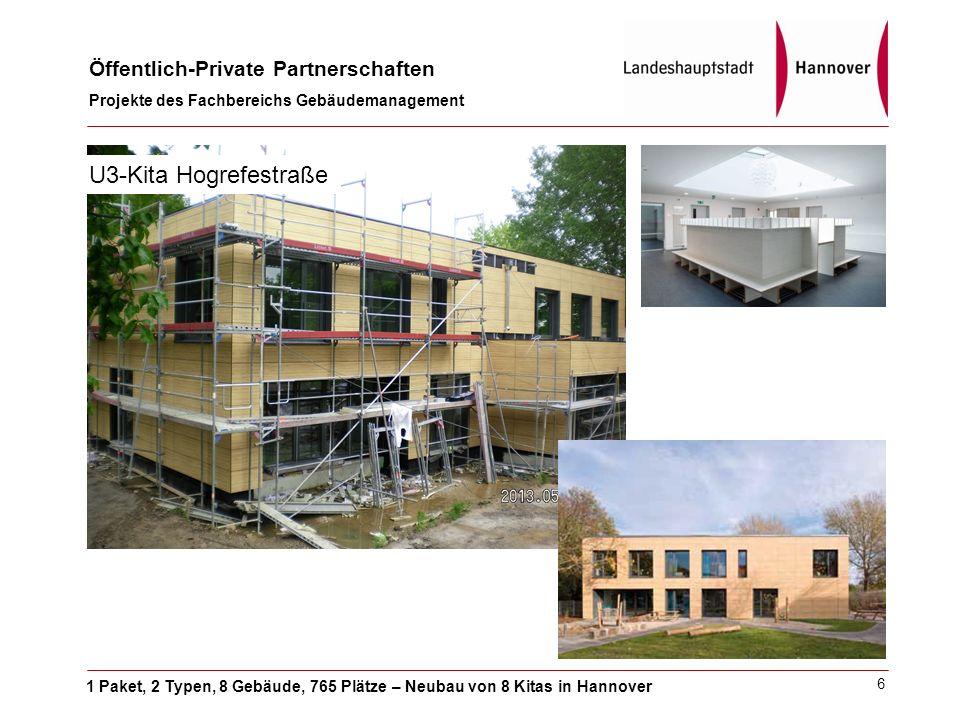 1 Paket, 2 Typen, 8 Gebäude, 765 Plätze – Neubau von 8 Kitas in Hannover Öffentlich-Private Partnerschaften Projekte des Fachbereichs Gebäudemanagement 6 U3-Kita Hogrefestraße